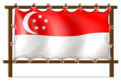 The flag of Singapore attached to the wooden frame Stock Illustration