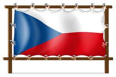 The flag of Czech Republic attached to the wooden frame Stock Illustration