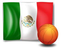 A ball beside the flag of Mexico Stock Illustration
