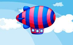 A stripe-colored airship in the sky - stock illustration