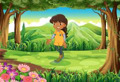 A tan girl at the forest - stock illustration
