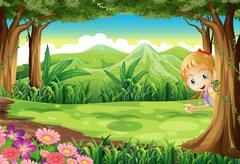 A young girl playing hide and seek at the forest - stock illustration