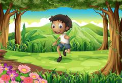 An energetic young boy in the middle of the forest Stock Illustration