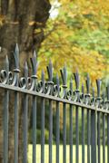 Ornate wrought iron fence - stock photo