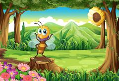 Stock Illustration of A bee above the stump and a tree with a beehive