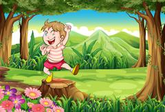A playful young boy at the forest standing above the stump Stock Illustration