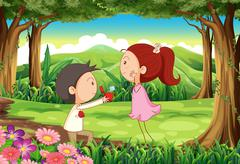 Stock Illustration of A marriage proposal at the forest