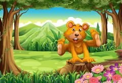 Stock Illustration of A stump with a playful brown bear