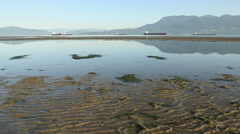 Low Tide, Spanish Banks, Vancouver dolly shot Stock Footage