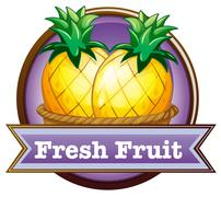 A fresh fruit label with pineapples Piirros