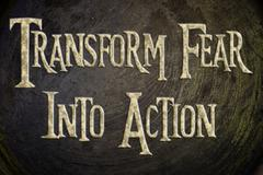 transform fear into action concept - stock illustration
