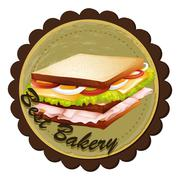 Stock Illustration of A best bakery label with a sandwich