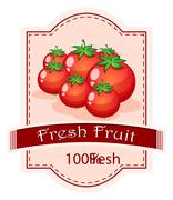 Stock Illustration of A fresh fruit label with ripe tomatoes