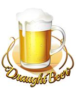 Stock Illustration of A draught beer label and a pitcher of cold beer