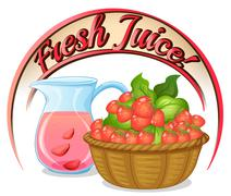 A fresh juice label with a basket of strawberries Piirros