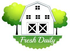 A fresh daily label with a barn Stock Illustration