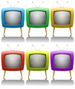 Six televisions with antenna Stock Illustration