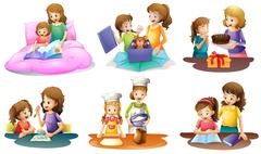 A mother and daughter bonding moments Stock Illustration