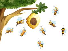 A tree with a beehive surrounded by bees - stock illustration