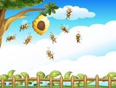 A tree with a beehive and a group of bees - stock illustration