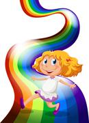 A young girl playing at the rainbow Stock Illustration