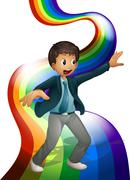 Stock Illustration of A boy dancing above the rainbow