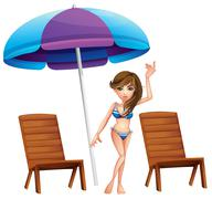 A pretty girl at the beach near the wooden chairs - stock illustration