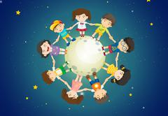 Kids holding their hands together while standing above the Earth Stock Illustration