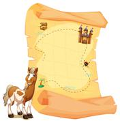 A treasure map beside the smiling horse - stock illustration