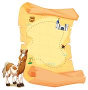 A treasure map beside a smiling horse Stock Illustration