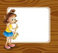 An empty rounded template with a female musician - stock illustration