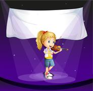 A girl performing at the stage with an empty banner - stock illustration