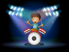 A young drummer at the center of the stage - stock illustration
