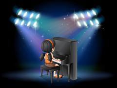 A stage with a young pianist performing Stock Illustration