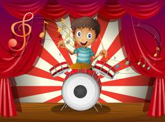 A boy at the center of the stage with a drum - stock illustration