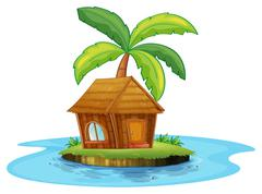 Stock Illustration of An island with a nipa hut and a palm tree