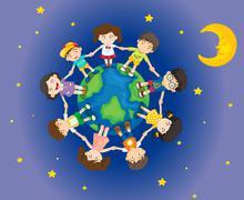 Happy kids surrounding the Earth - stock illustration