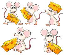 A group of mice carrying slices of cheese - stock illustration