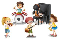 A group of talented kids Stock Illustration