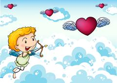 A sky with an angel and heart's with wings - stock illustration