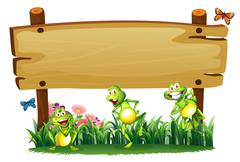 An empty wooden board at the garden with playful frogs Stock Illustration