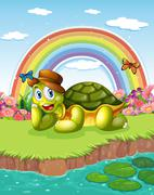 A turtle at the pond with a rainbow in the sky Piirros