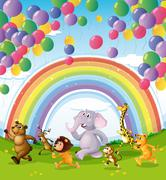 Stock Illustration of Animals racing below the floating balloons and rainbow