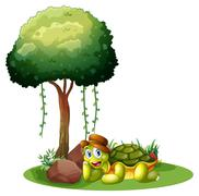 Stock Illustration of A smiling turtle near the rocks under the tree