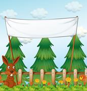 A bunny at the garden below the empty banner - stock illustration