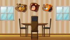Stuffed animal decors inside the house Stock Illustration