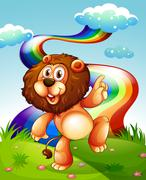 A playful lion at the hilltop and the rainbow in the sky Stock Illustration