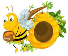A bee holding a pot of honey near the beehive - stock illustration