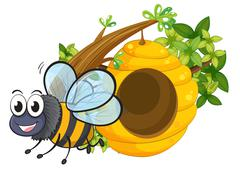 A smiling bee beside the beehive Piirros