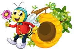 A bee holding a flower - stock illustration